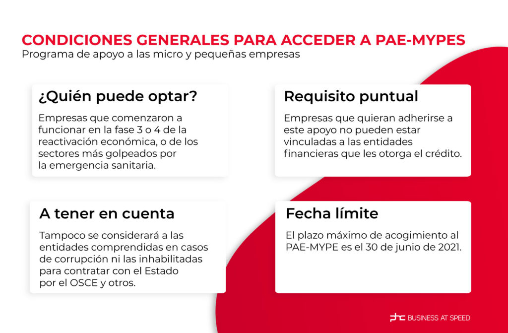 infografía sobre las condiciones generales para acceder a pae-mypes