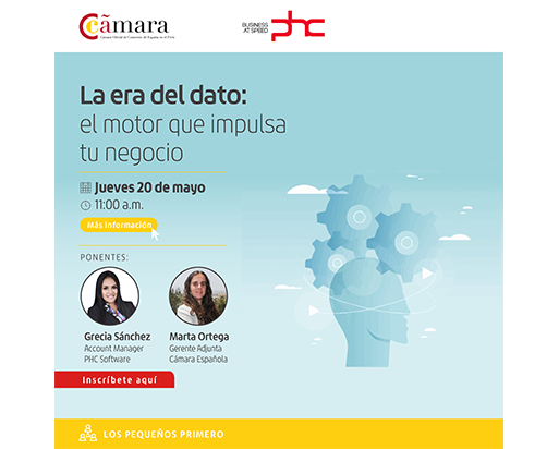 """Banner de webinar """"La era del dato: el motor que impulsa tu negocio"""" de PHC Software con Cámara Oficial de Comercio de España en el Perú"""